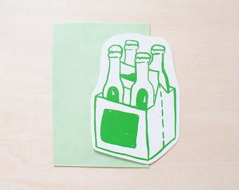 Beers Greeting Card, Blank Card, Holiday Card, Blank Greeting Card, Handmade Card, Shape Card