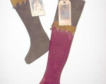 Primitive Hand Dyed Wool Christmas Stockings