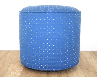 "Blue pouf ottoman 18"", nursery pouf blue and yellow, round floor pouf upholstery fabric, bean bag chair dorm decor, teen seating chair"