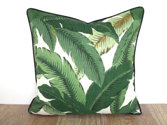 Tropical throw pillow case swaying palm leaf fabric 20 inch