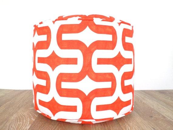 "Orange pouf ottoman, round ottoman 18"", pouffe, nursery pouf, bean bag chair, orange floor cushion, geometric floor cushion"