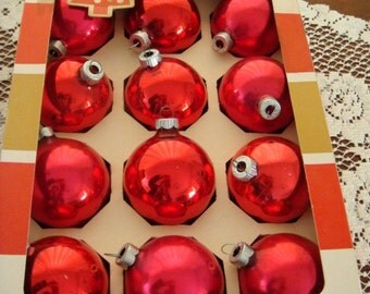 Red Coby & Shiny Brite Mercury Glass Christmas Ornaments