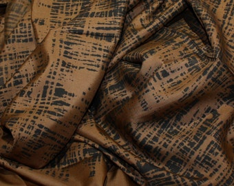 "4.38 yds x 35"" Vintage Silk Fabric Douglas Ram Samuj Designer Yardage - Basketweave pattern Rich Brown and Black with Garment Label"