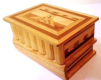 Wood inlay box with secret compartment drawer / puzzle box
