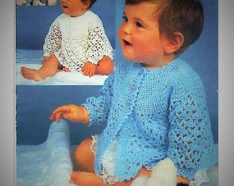 Vintage Crochet Pattern - Angel Dress/Top and Matinee Coat Baby  Pattern
