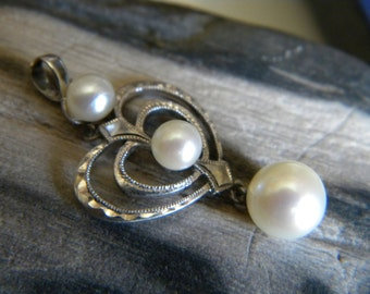 RESERVED Mikimoto sterling silver and cultured pearl heart pendant - vintage jewelry