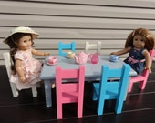 American doll table and 6 chairs in custom color paint of your choice