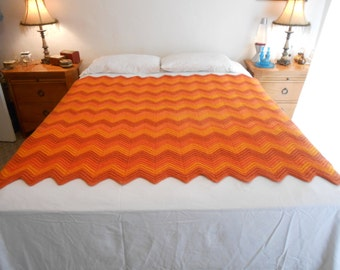 "Chevron Pattern Crocheted Blanket/Throw/Size 57"" by 59""/From the 80's to 90's"