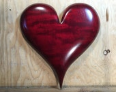 Heart red wooden wall hanging Wedding present wood carving gift by Gary Burns