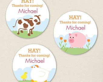Barnyard Animals Party Favor Stickers - Sheet of 12 or 24