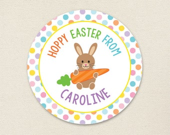 Easter Stickers - HOPPY Easter - Sheet of 12 or 24