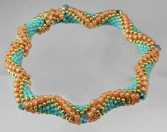 Diamond and Wave Bead Crochet Bracelet Pattern - Instructions for bracelet and Hints doc included