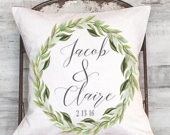 Wedding Gift Cotton Anniversary Gift personalized Pillow cover