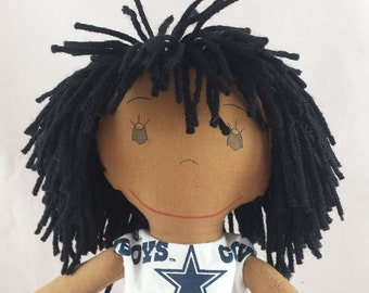 READY TO SHIP Rag doll, earth skin tone, mop of black hair, Cloth Doll, Plush Toy, Soft Doll, Fabric Doll, Stuffed Doll