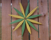 "Brighten up your Outdoor Wall or Fence!  - 17"" Starburst Wreath - Green and Yellow -  handcrafted by Laughing Creek"
