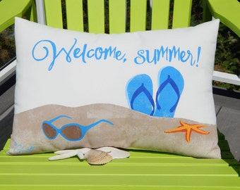 """WELCOME, SUMMER! hand painted pillow 15""""x20"""" flip flops sunglasses beach vacation all weather your color choice Crabby Chris™ Original"""