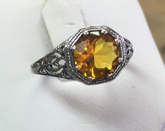 Golden Citrine Solitaire Ring set in Antique Sterling Setting Size 5 3/4