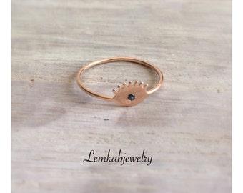 Evil Eye Ring in Rose Gold, Rose Gold Ring