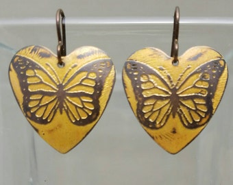 Heart Magical Monarchs Etched Copper Earrings