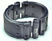 Machined Aluminum Cuff with Leather Inlay - Antiqued Silver