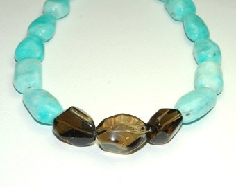 Amazonite and Smoky Quartz Necklace - Turquoise and Brown - Bold Statement Jewelry - Large Beaded Necklace