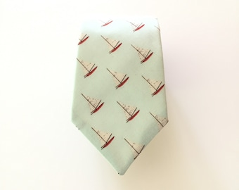 "Men's Necktie - Sailboat - Pale Aqua Blue Sailboats Theme - In Stock - slim 3"" width - mens neck tie"