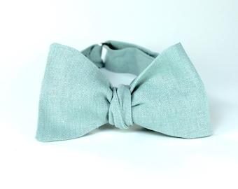 Men's Bow Tie - Dusty Shale - Freestyle Self Tie - match J.Crew dresses - Adjustable Bowtie - matches BHLDN sea glass mens bowtie