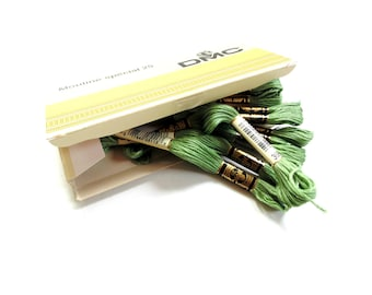 DMC 368 embroidery floss, box of 12 skeins, light pistachio green, 6 strand floss, lot of embroidery thread