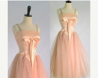 1950s Prom Dress 50s Prom Dress Vintage 1950s Dress Tulle Dress Peach Party Dress Womens Cocktail Dress Vintage Dress XS Extra Small