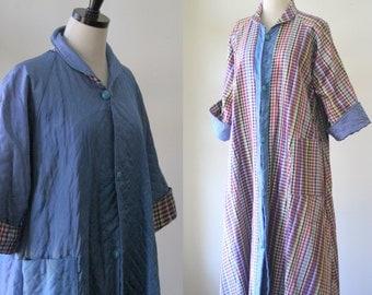 Vintage Silk Robe Plaid Coat 1960s Silk Jacket Womens Lounging Robe Wedding Robe Coat of Many Colors Silk Robe Vintage Long Reversible Large