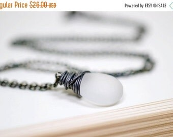 25% OFF SALE Winter White and Oxidized Silver Wire Wrap Necklace, Black and White Minimalist Necklace Frosted Ice Teardrop Winter Jewelry Mo