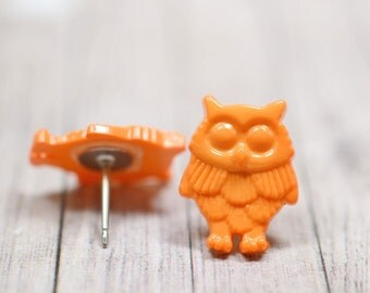 Orange Owl Earrings, Fun and Funky Owl Jewelry, Bright Orange Bird Earrings, Owl Lovers