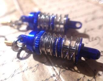 Auto Racer, Mechanic mini Shock, strutEarrings blue and silver.