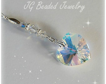 Swarovski Crystal Heart, Rearview Mirror Car Charm, Hanging Heart Suncatcher Ornament, Car Decoration, Home Decor