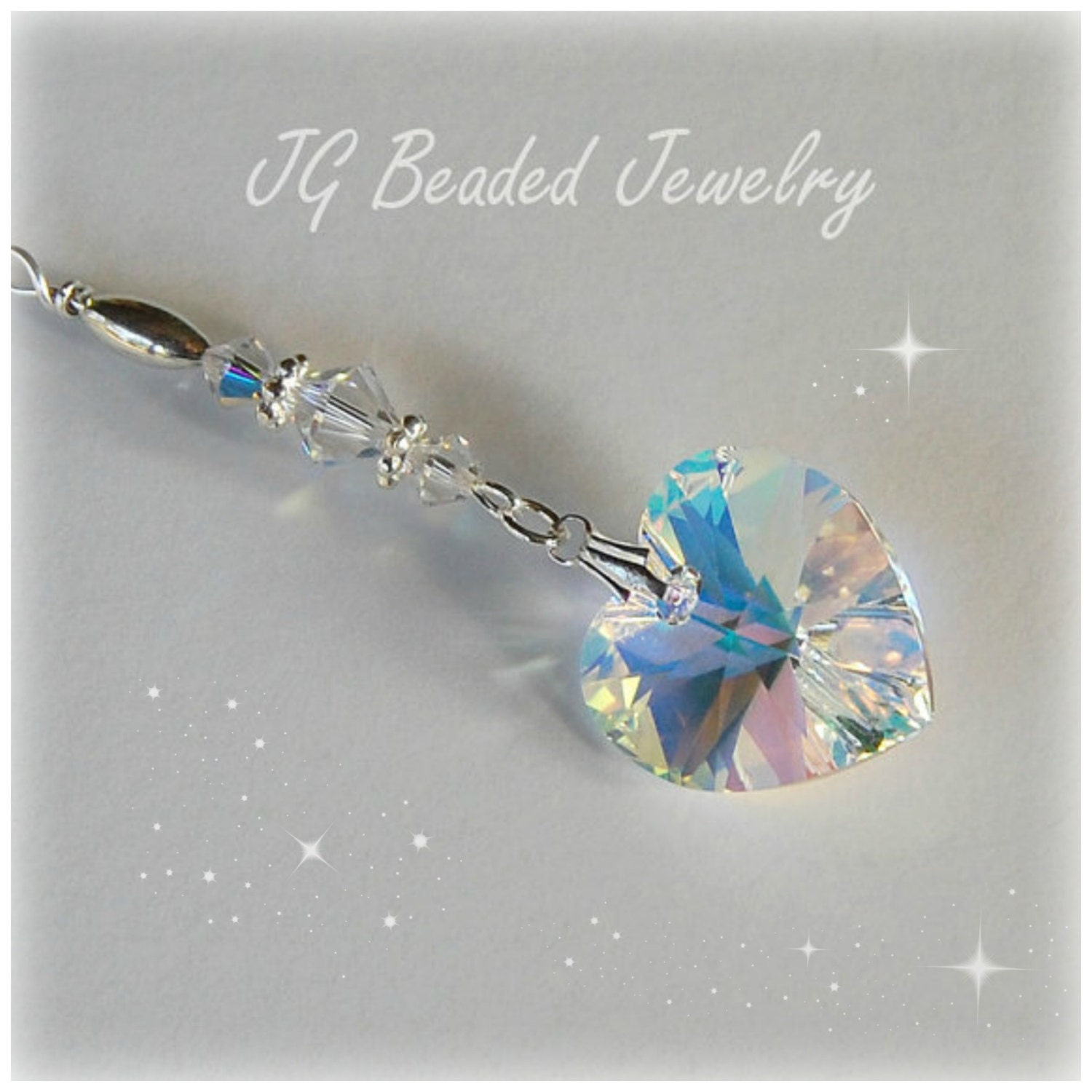 Swarovski Crystal Heart Rearview Mirror Car Charm Hanging