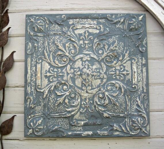 Antique Ceiling Tin Tile Framed Large Blue Metal Wall Art