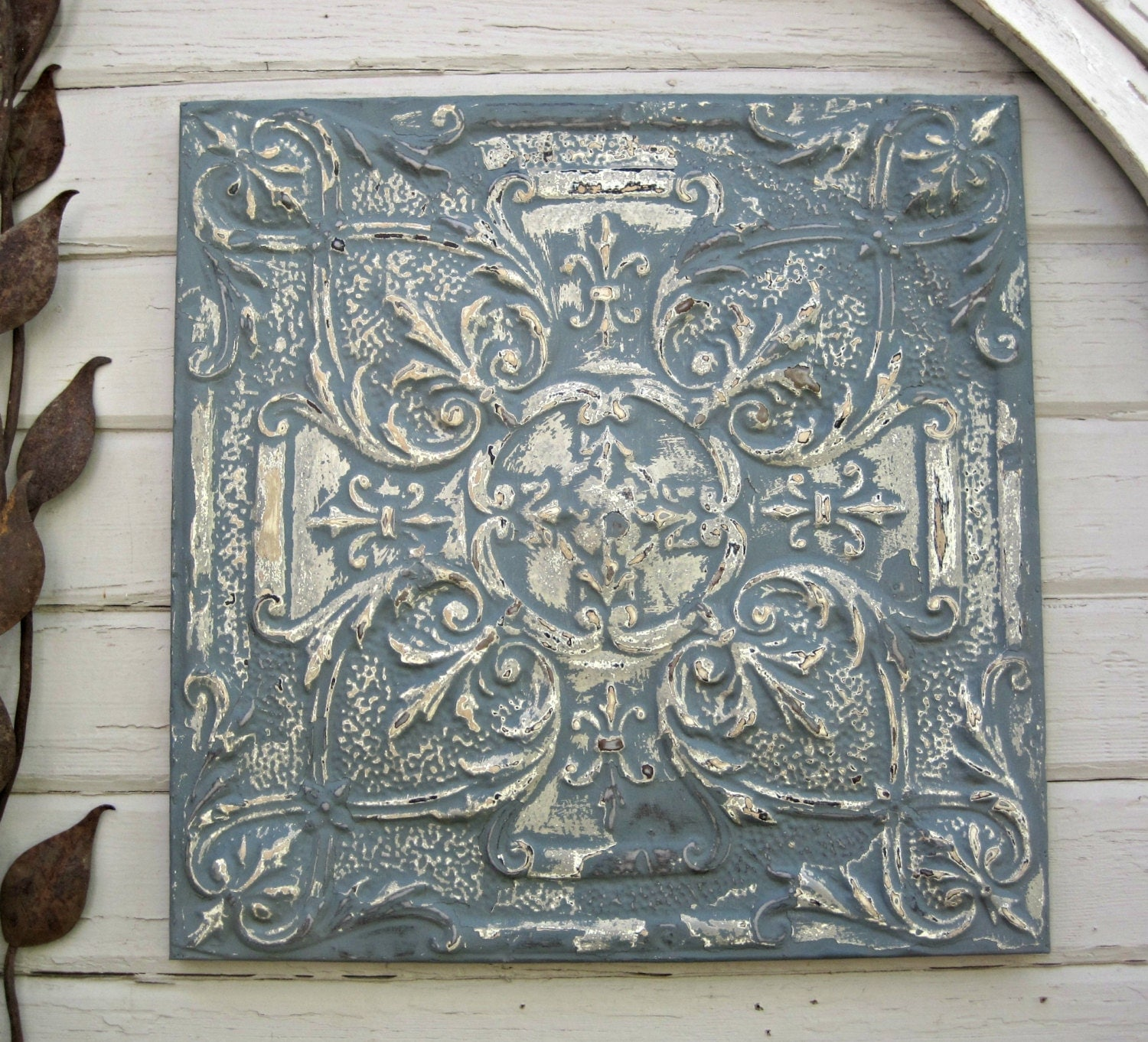 antique ceiling tin tile framed large blue metal wall art