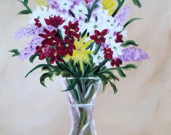 "Floral acrylic painting ""Monday Bouquet"""