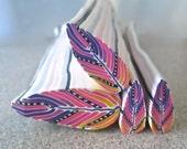 Feather Cane. Polymer Clay Cane, Raw Millefiori Cane, Handmade Cane, Craft Supply, Southwestern Crafts, Woodland Crafts, Jewelry Crafts