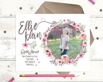 Watercolor Floral Graduation Announcement - Open House Party Invitations - painted flower wreath
