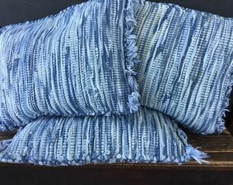 Blue Boho Rag Rug Pillow