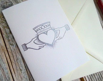 Claddagh Ring Silver Embossed Greeting Card