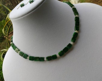 Moss Agate and Moonstone Necklace/Earring Set