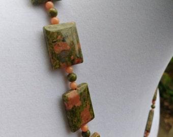 Unakite and Peach Coral Necklace
