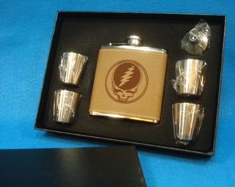 1 STEAL YOUR FACE Leather Flask Gift Set - Great gift for a Deadhead, Grateful Dead, Jerry Garcia