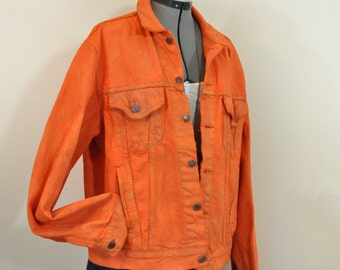 "Orange Mens Medium Denim JACKET - Orange Hand Dyed Upcycled Levi's Cotton Denim Trucker Jacket - Adult Mens Size Medium (46"" chest)"