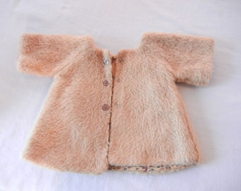 Cabbage Patch Kids Doll Coat, Faux Fur, Tan, Homemade Sewn for Doll, Fully Lined with Snaps