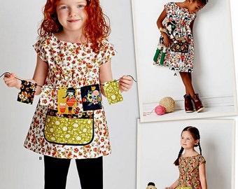 Child's Dress and Tunic Pattern,  Girls' Big Pocket Dress Pattern, Sz 3 to 8, Simplicity Sewing Pattern 8101
