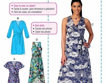 Learn to Sew a Wrap Dress Pattern, Easy Beginner Sewing Dress Pattern, McCall's Sewing Pattern 7406