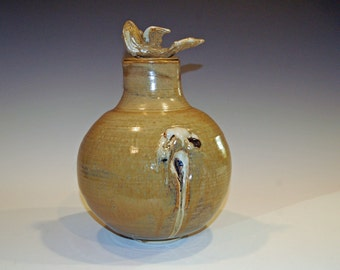 Pottery Jar with Lid, Fish Sculpture, Ceramic Jar, Home and Living, Home Decor, White and Gold, Pet Urn, Cremation Urn, Ceramics and Pottery